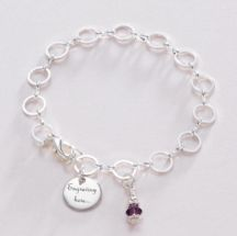 Memorial Bracelet with Engraved Charm and Birthstone